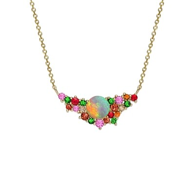 Yellow Gold Multi Gem Harlequin Pendant Necklace