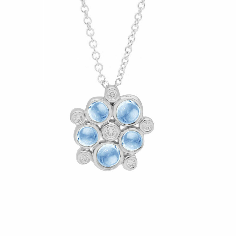 White Gold Diamond And Blue Topaz Bubble Cluster Pendant Necklace