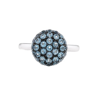Modern White Gold Blue Topaz Ball Ring