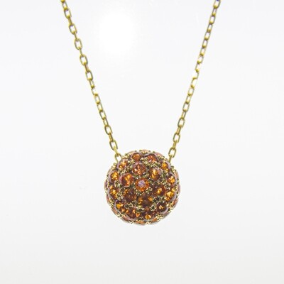 Yellow Gold Orange Sapphire Ball Pendant Necklace