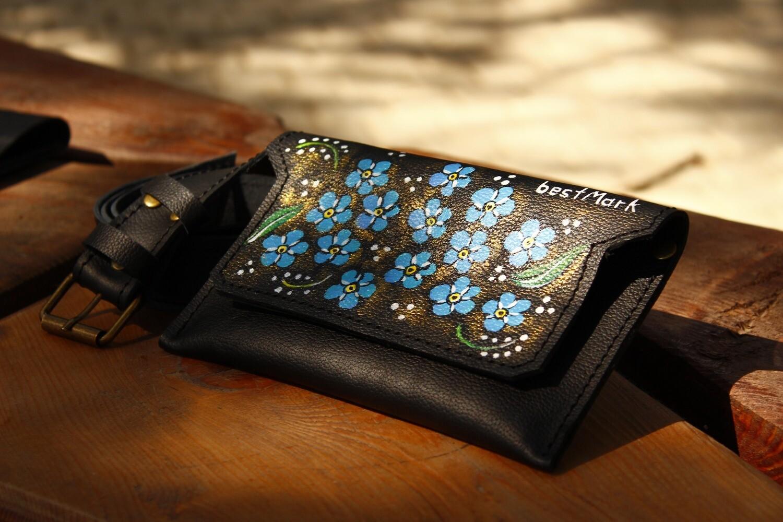 ქამარი-ჩანთა 20x10 სმ. Max 110 სმ ქამარი- რეგულირებადი - Leather Belt Bag
