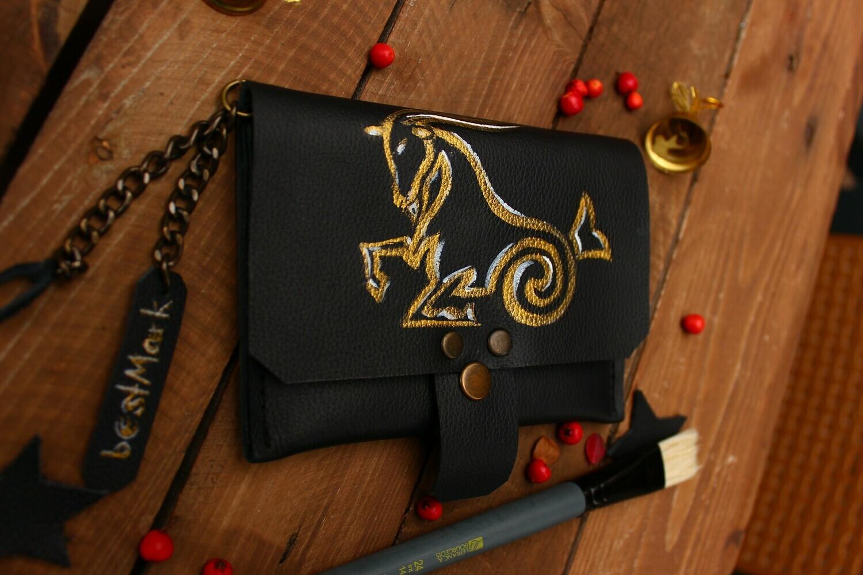 საფულე 15x10 სმ - თხის რქა  / Leather Wallet Capricorn