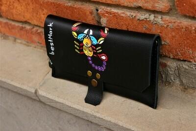 საფულე 21x10 სმ - მორიელი/ Leather Wallet Scorpio