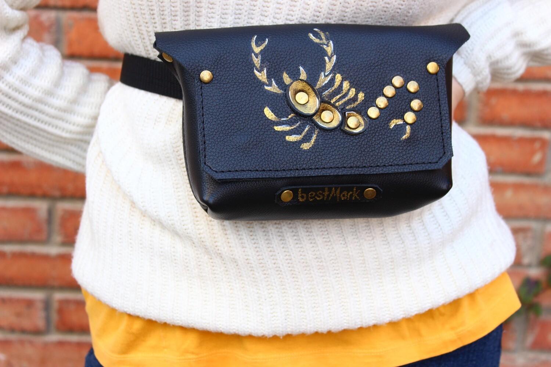 წელის ჩანთა 23x13x5 სმ - მორიელი/ Leather Waist Bag Scorpio