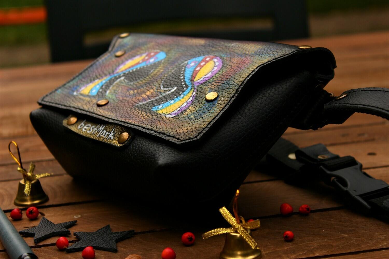 წელის ჩანთა 23x13x5 სმ - ტყუპები / Leather Waist Bag Gemini