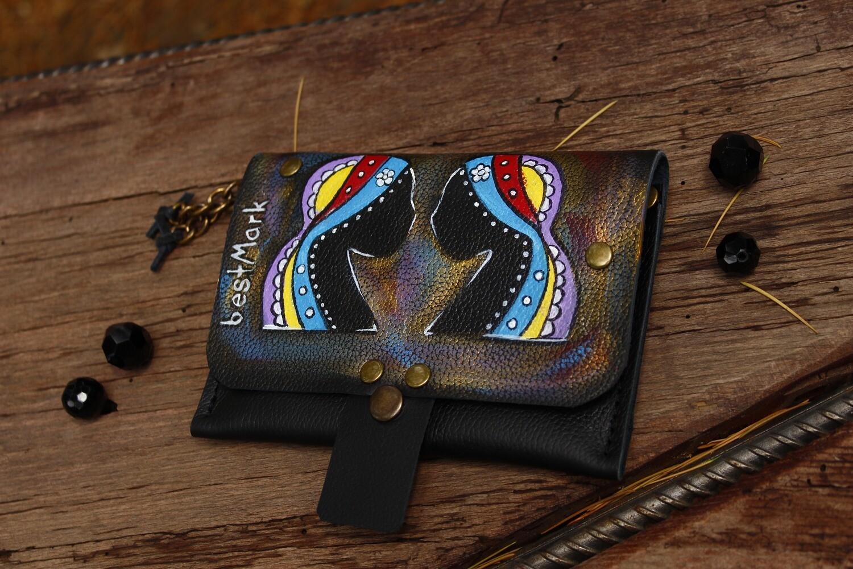 საფულე 15x10 სმ - ტყუპები / Leather Wallet Gemini