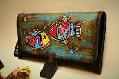საფულე 21x10 სმ - თევზები / Leather Wallet Pisces