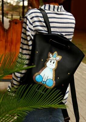 ზურგჩანთა და მხრის ჩანთა 30x32x7 სმ - Leather Backpack/Shoulder Bag