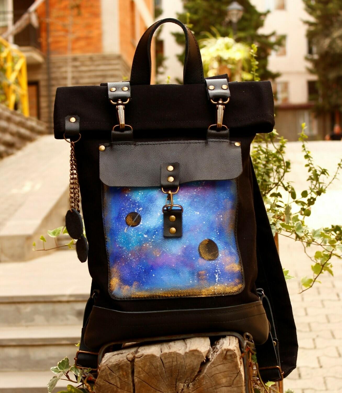 ზურგჩანთა ნაჭერი და ტყავი 42×30×6 სმ - Backpack