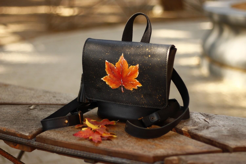 ზურგჩანთა და მხრის ჩანთა 25x20x13 სმ - Leather Backpack/Shoulder Bag