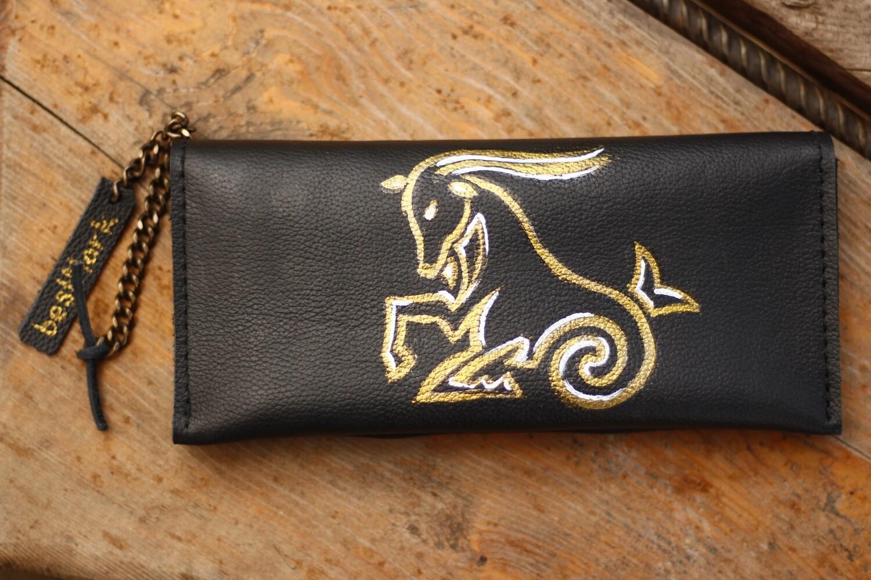 საფულე 21x10 სმ - თხის რქა NM / Leather Wallet Capricorn