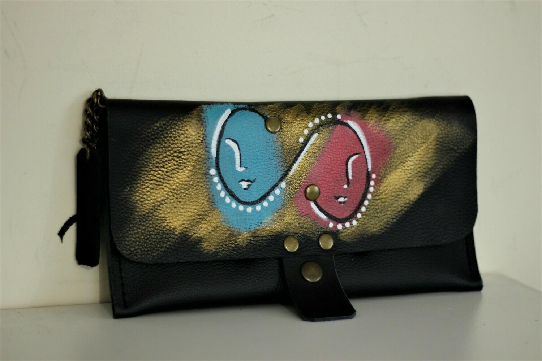 საფულე 21x10 სმ - ტყუპები / Leather Wallet Gemini