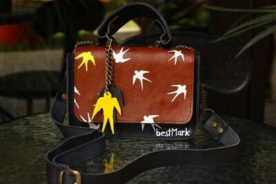 მერცხლები  - bestMark ჩანთა ნახატით - Leather Shoulder Bag 20x13x8 სმ