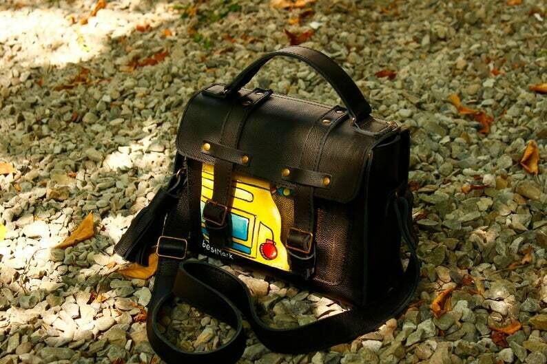 bestMark  - ჩანთა ნახატით 26x20x10 სმ - leather shoulder bag