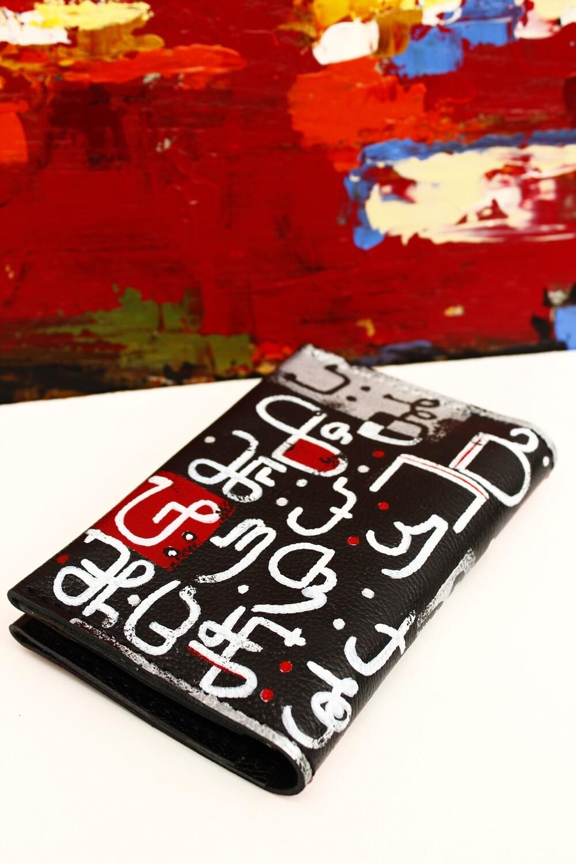 bestMark საფულე ანბანი - leather wallet 15x10 სმ/cm ნახატით