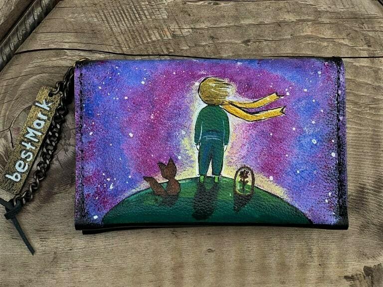 საფულე ნახატით 15x10 სმ - პატარა უფლისწული / Leather Wallet