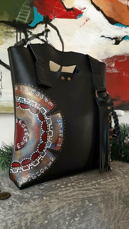 bestMark  ანბანი- ჩანთა - leather bag 30x32x7 სმ