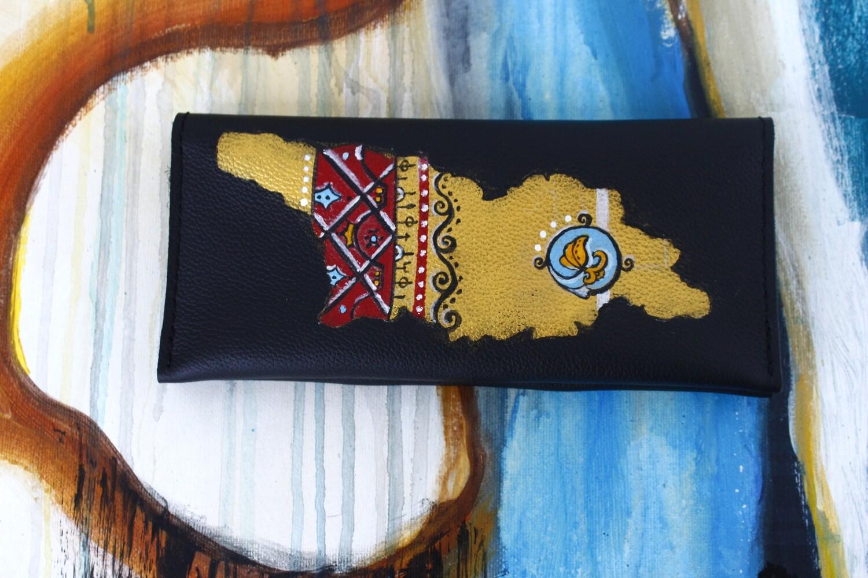 bestMark საფულე - leather wallet 21x10 სმ/cm ნახატით  საქართველო