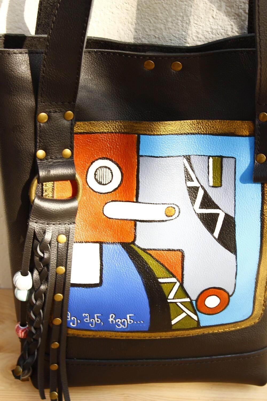 bestMark ჩანთა - leather handbag ჩანთა ორნამენტით 32x34x10