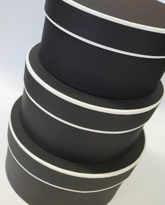 Hat Box Black with Cream Trim Round