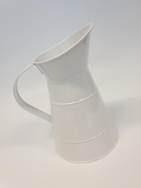 White Zinc Jug with Handle