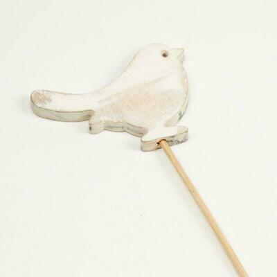 Wooden Pick White Wash Bird