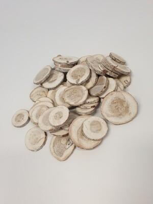 Wood Slices Round White Washed