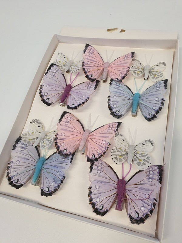 Pastel Assorted Butterflies on Clips