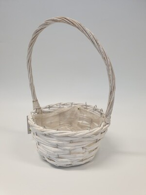 Basket White Wicker with Handle