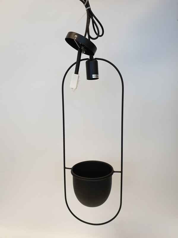 Metal Light Fitting With Black Planter