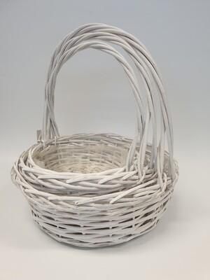 Set of 3 White Wicker Baskets