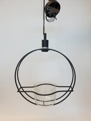 Round Metal Light Fitting With Glass Planter
