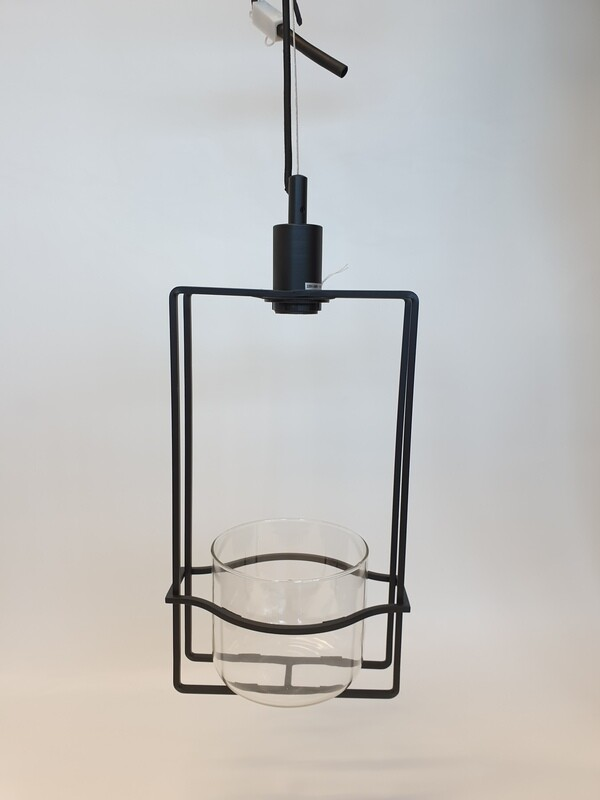 Metal Rectangle Light Fitting with Glass Planter