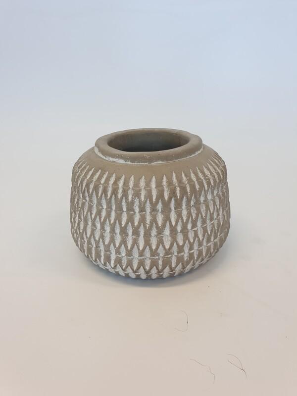 Grey white wash Pot