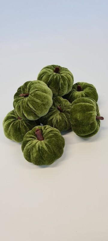 Flocked Pumpkins Green