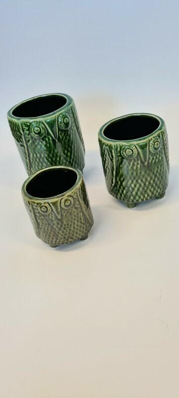 Owl Ceramic Pots Green