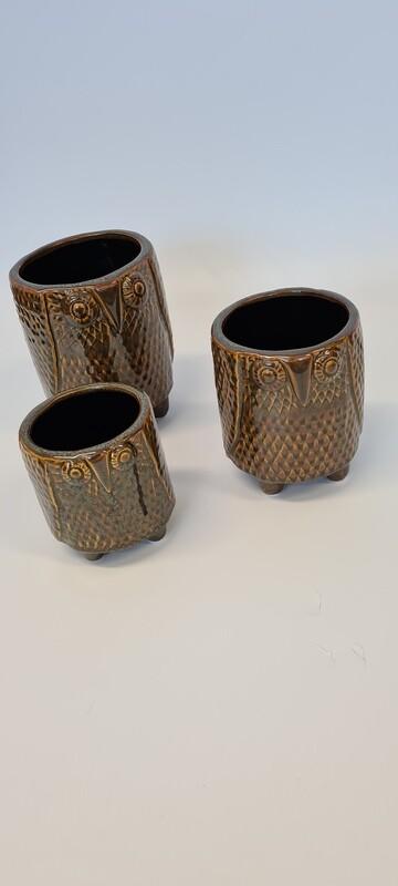 Owl Ceramic Pots Brown