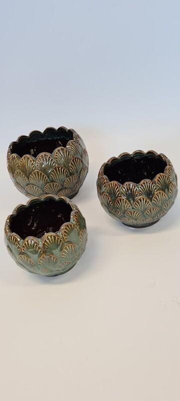 Vintage Green Ceramic Pots