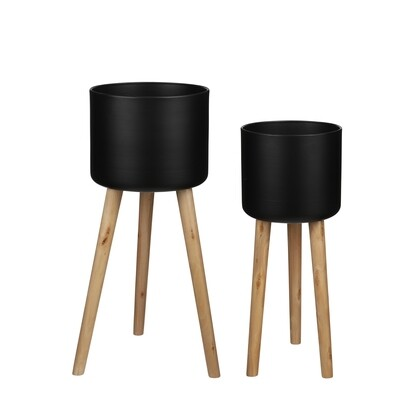 Roselle Black Pots with Wooden Legs