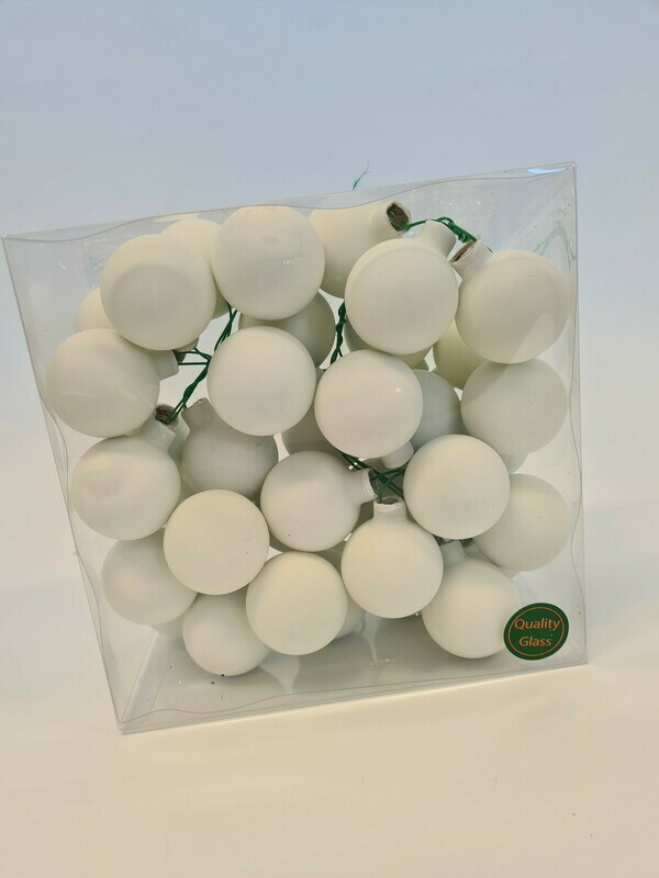 Satin White Glass Baubles
