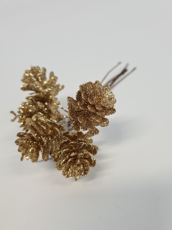 Gold Pine Cone Pick
