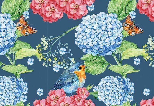 Bird, Butterfly and Hydrangea
