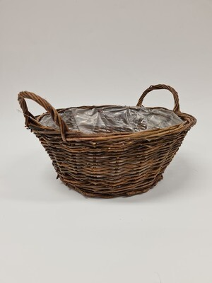 Round Brown Basket with Handles