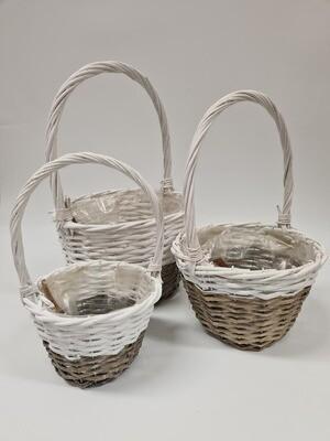 Chilcote Round White Two Tone Basket