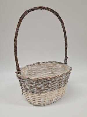 Two Tone White Wash Basket with Handle