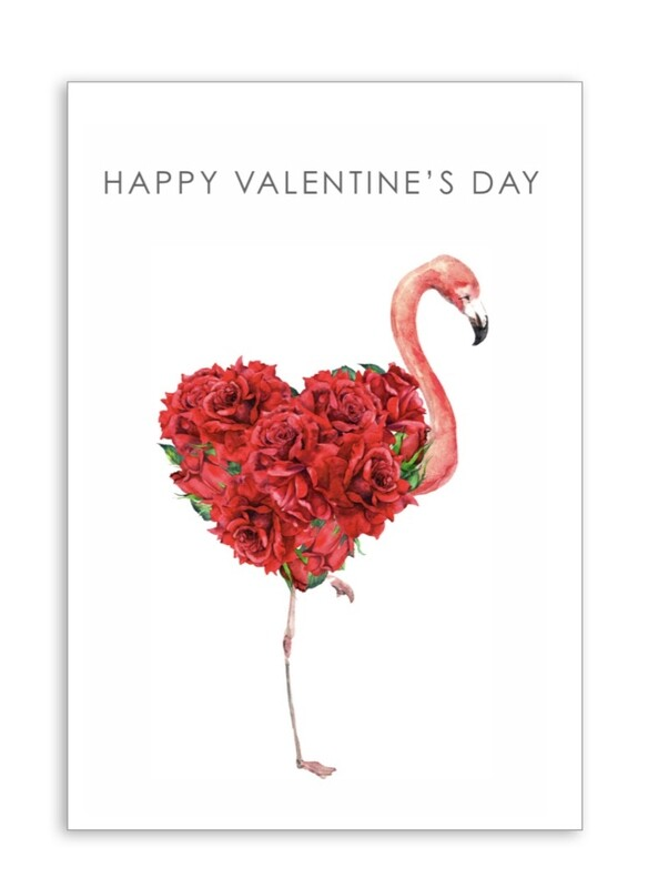Happy Valentines Day with Flamingo Folding Card