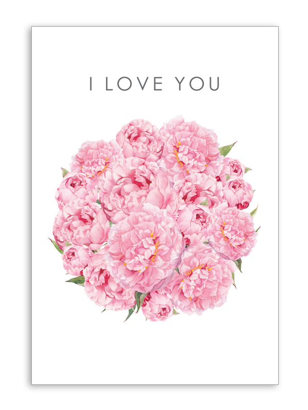 I Love You Pink Peony Folding Card