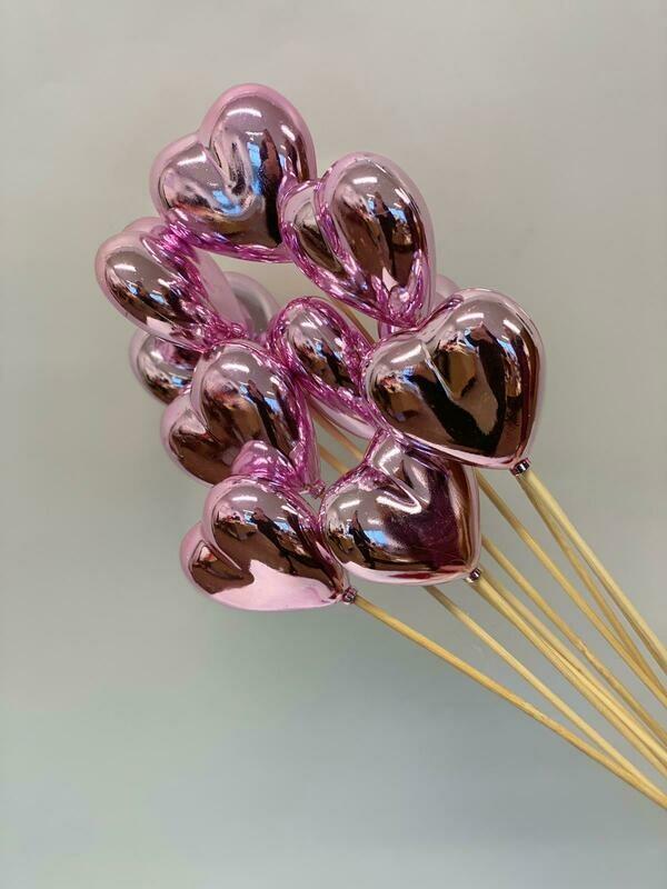 Shiny Pink Heart Pick