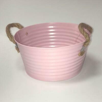 Pink Ribbed Zinc Planter