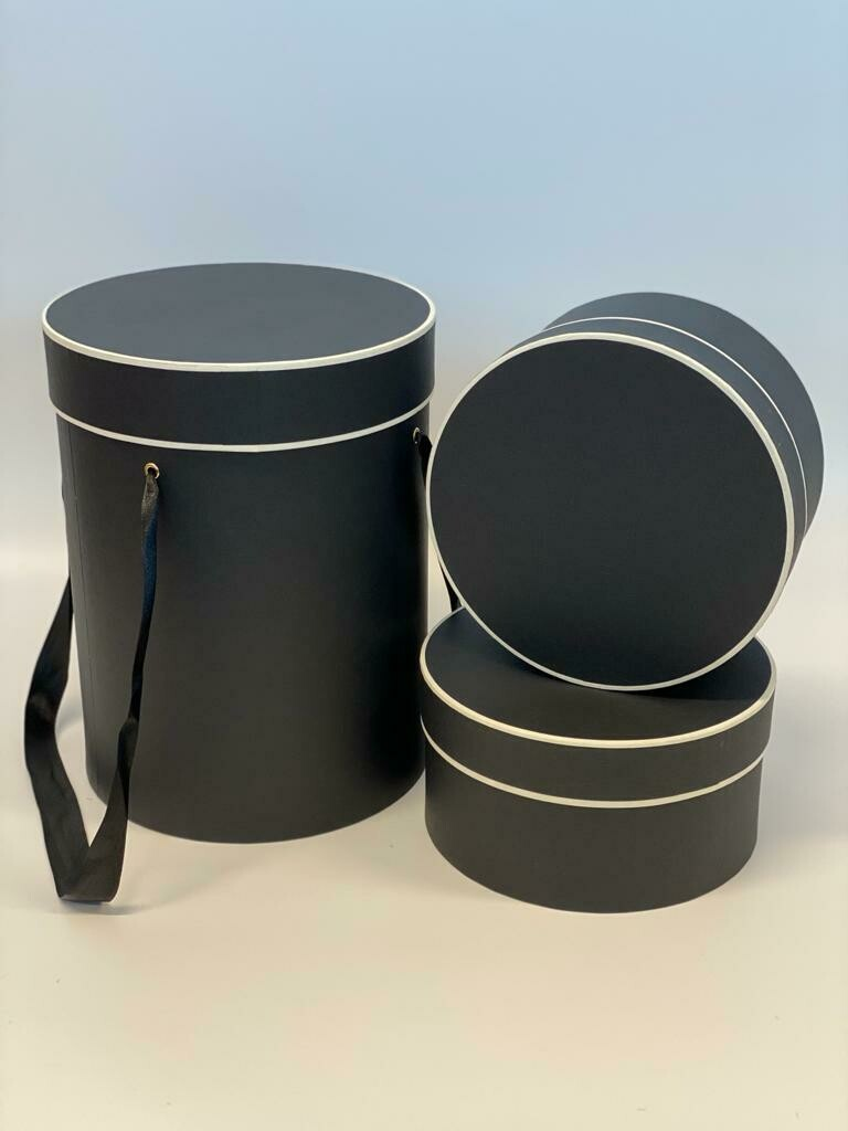 Hat Box Tall Black with Cream Trim